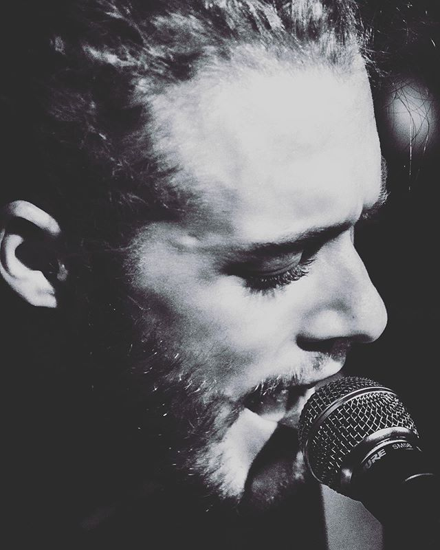 Things are afoot.  Photo by @lexvoight  #stterrible #blackandwhite #sing #mood #music #concertphotography #photooftheday #songwriter #musician #closeup #glam #beardo