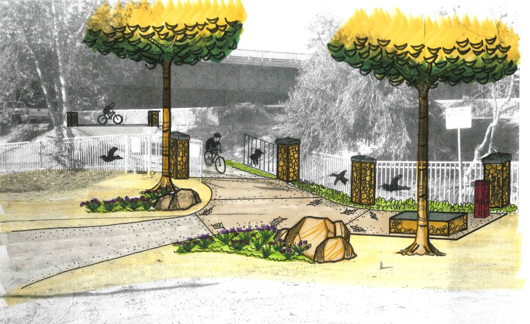 Enhanced Bike Trail Entrance with Rest Stops