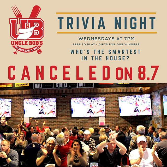 Tonight's Trivia Night is CANCELED due to our host being sick. We'll be back and running next week!  Join us for dinner and drinks tonight instead 🍻