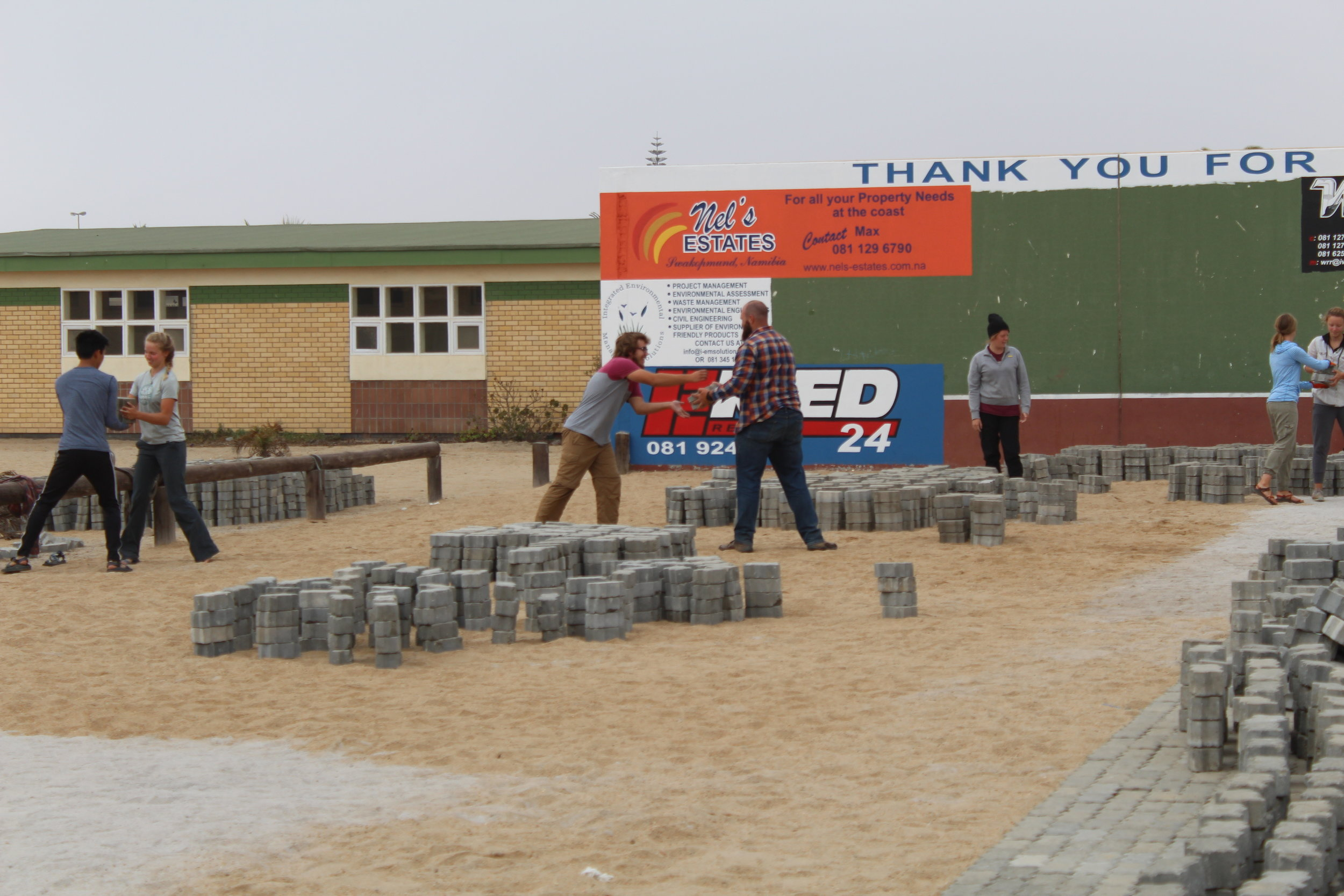 Swakopmund, Namibia - Our team helping lay the foundation for a ministry drive way.