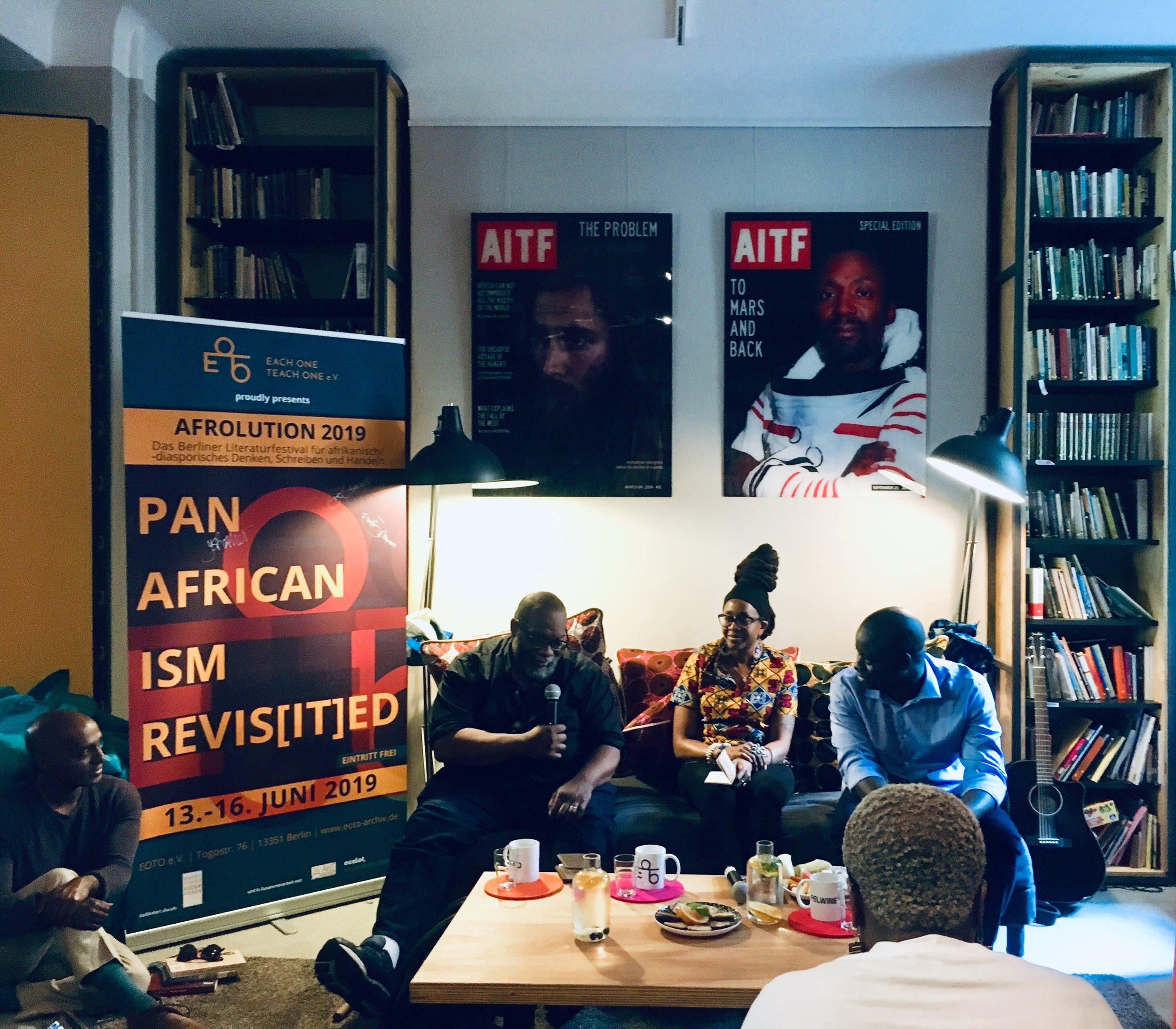 Fred Moten, Nnedi Okorafo, and Felwine Sarr at EOTO, 15 June 2019. Photo by E. Bonhomme.