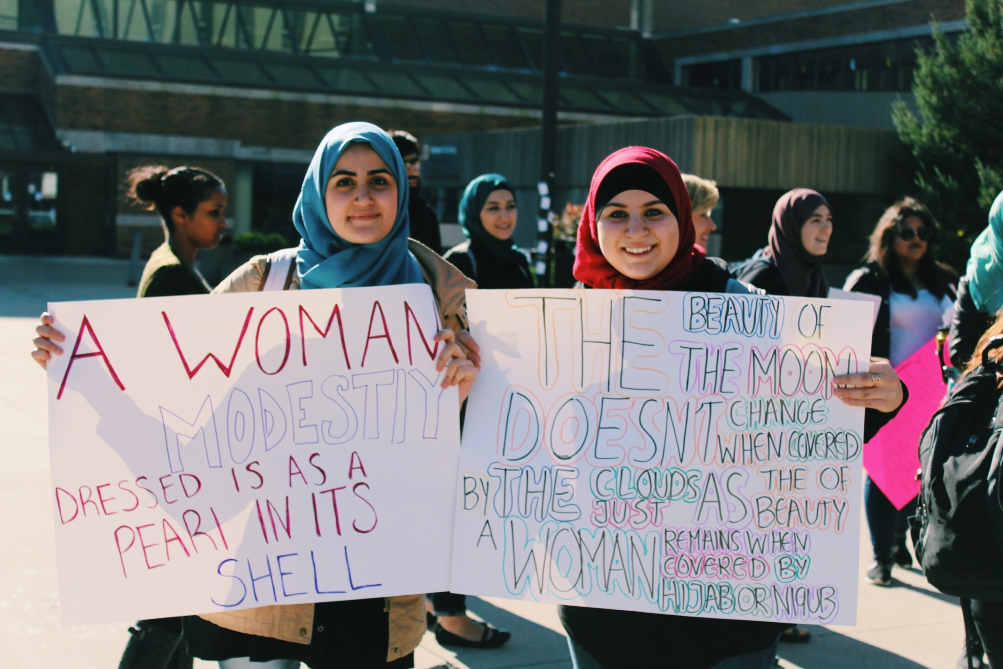 The Hijab Unity Walk. It was a march around UWM's campus to support Muslim women's right to wear the hijab. (Picture by Sabrina Johnkins)