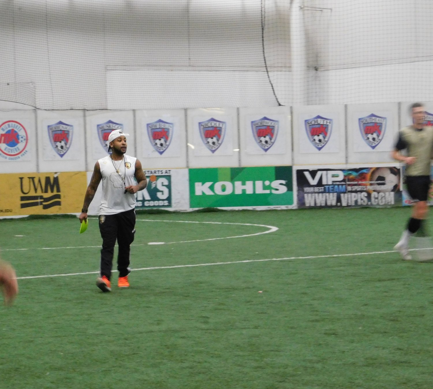 Owner of Brew City Legends FC, Denzel Pettigrew is getting his team in shape with early morning Sunday practice. (Picture by Nyesha Stone)