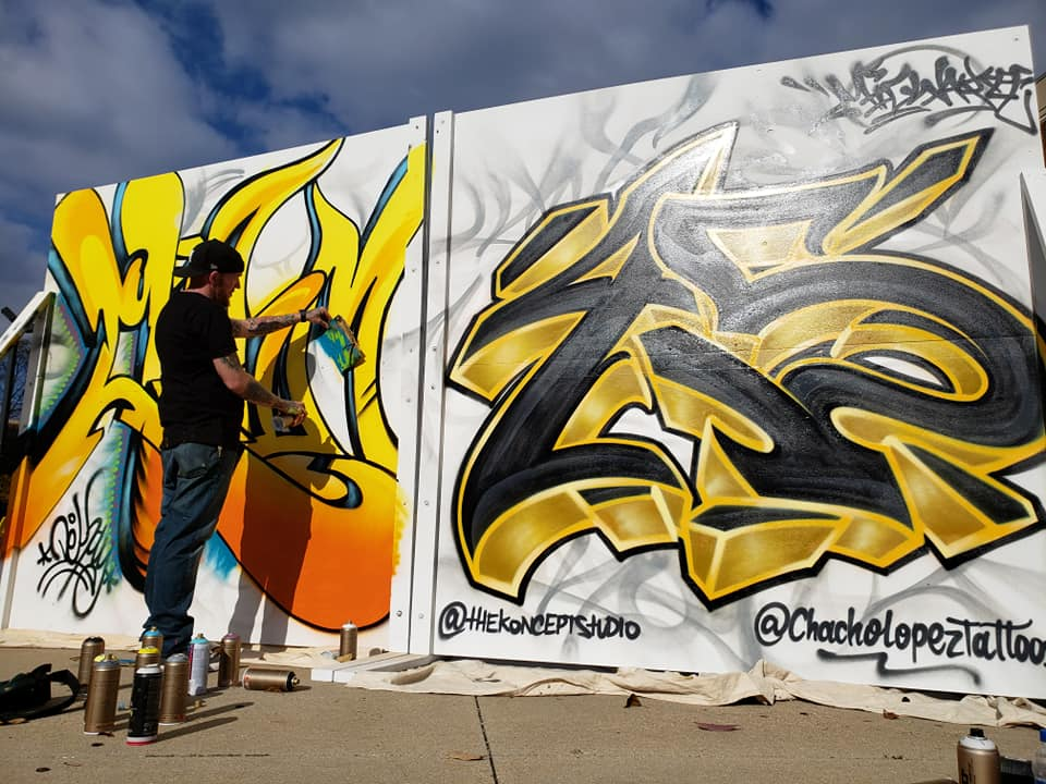 A few artists were hired to make murals for TRUE Skool's #weclaim45 event. (Picture provided by TRUE Skool)