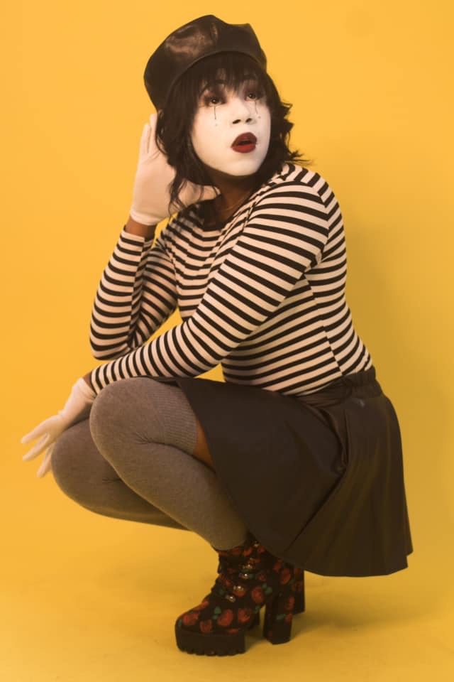 Mudy likes to move in silence, which is why she's pictured as a Mime. (Picture by Steven Robinson)