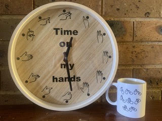 Auslan (Australian Sign Language) inspired clock. (Picture by Natalie Bell)