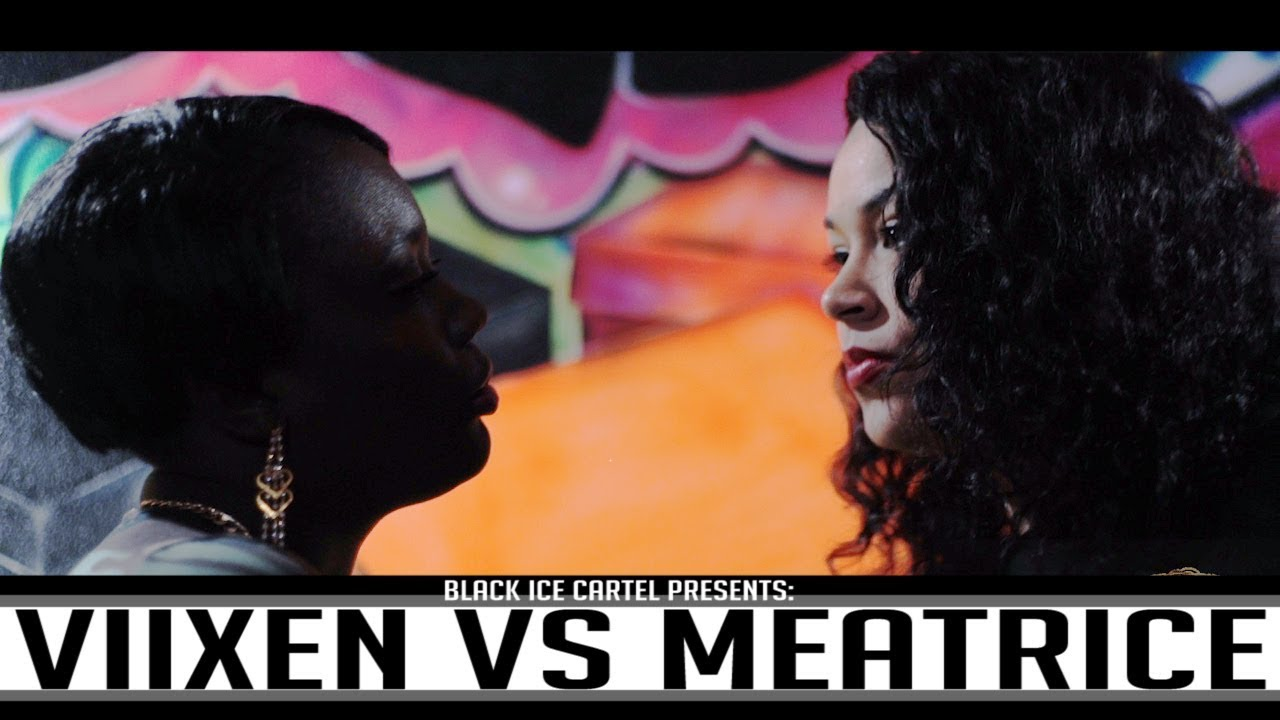 Female battlers are just as nasty as the men when it comes to disrespect, bars and wordplay. A classic battle from Viixen the Assassin and Meatrice. (Photo courtesy Black Ice Cartel)