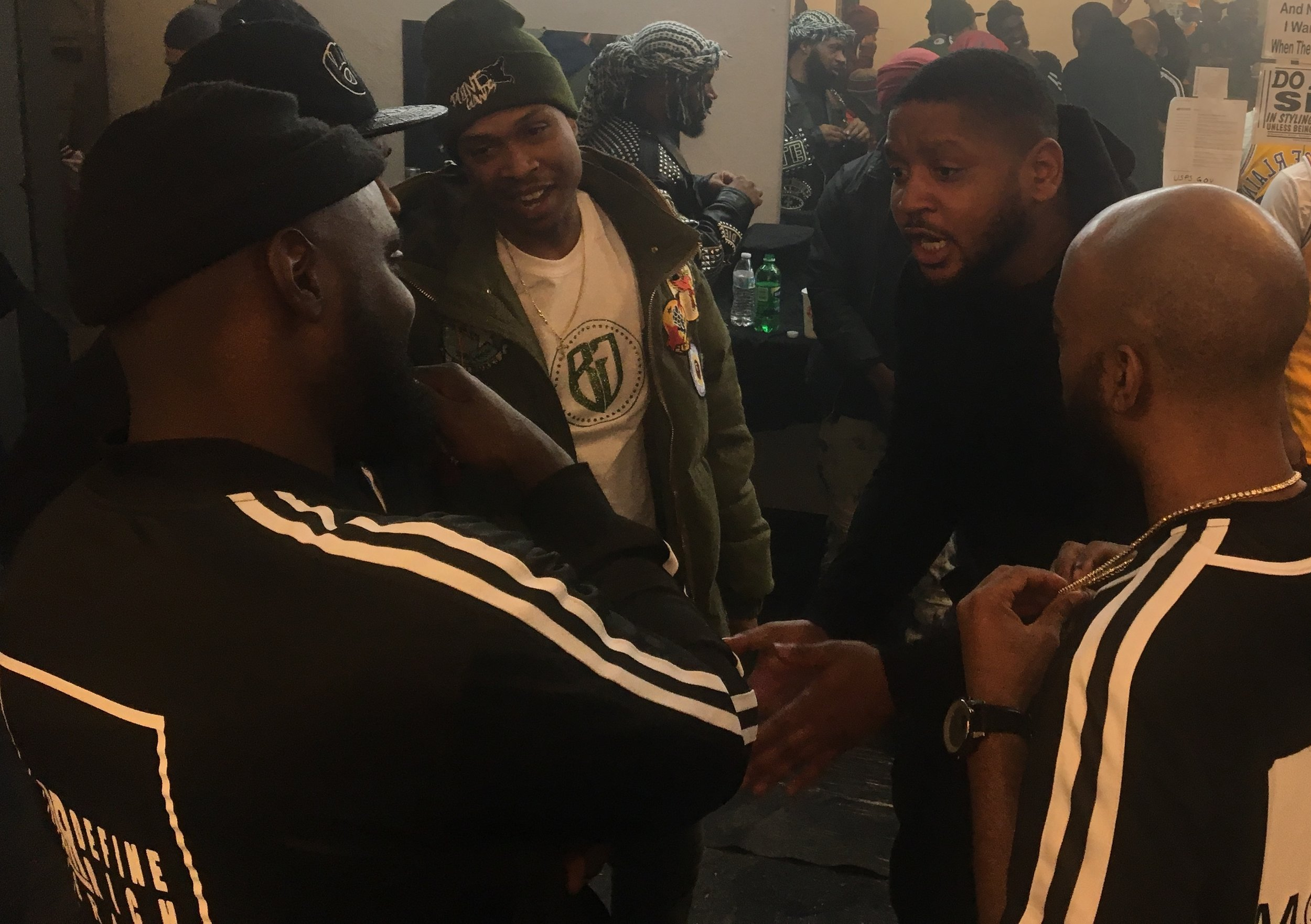 Another classic Hoodlum Gang, Body Gang conversation before a SpitDatHeat event. Cedric Ivory, Killa B, AQ and Larry Bull talk shop. (Photo by Dylan Deprey)