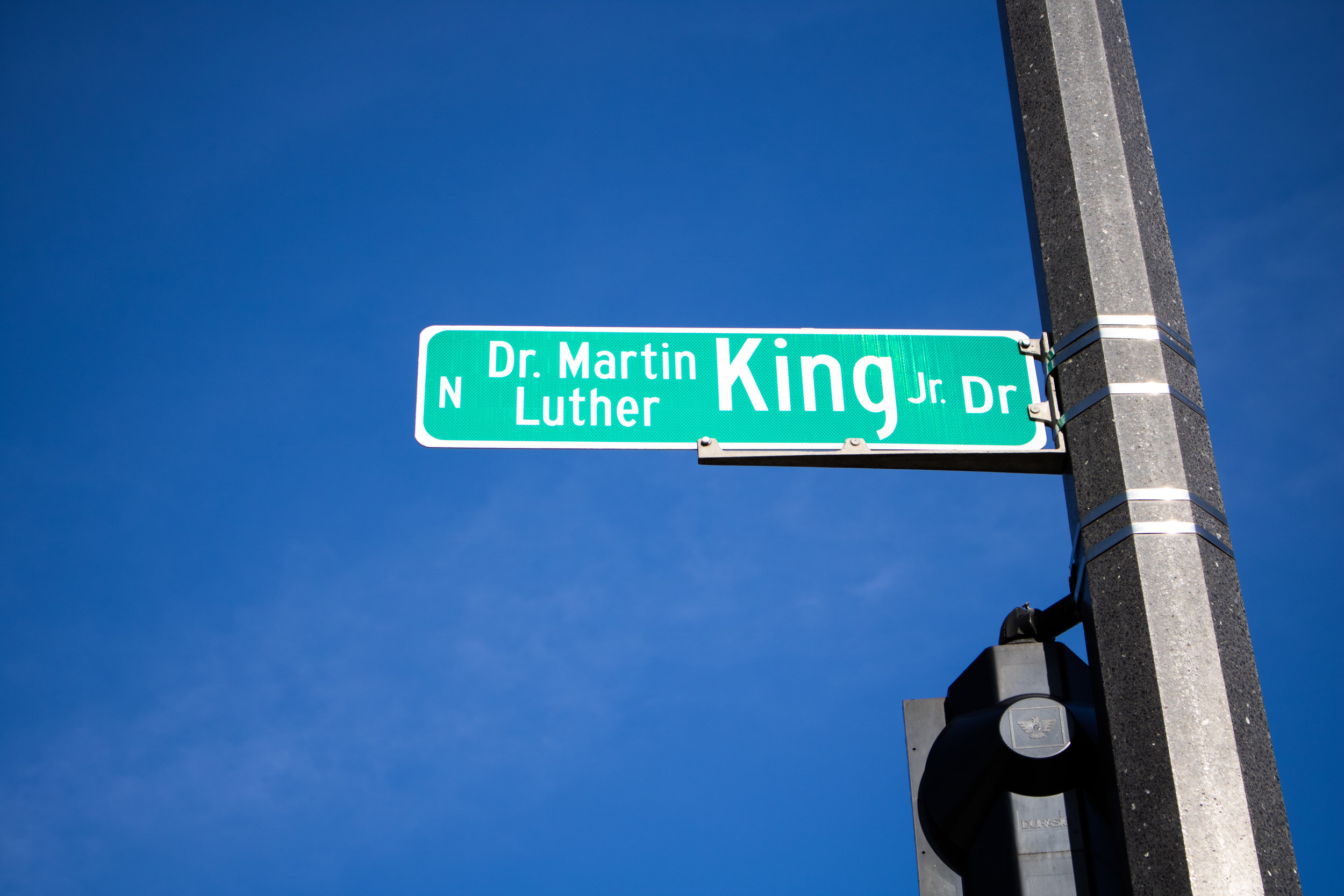 MLK street sign at the corner of MLK, 3rd St. and McKinley. (Picture by Malachi Lyonsdove)
