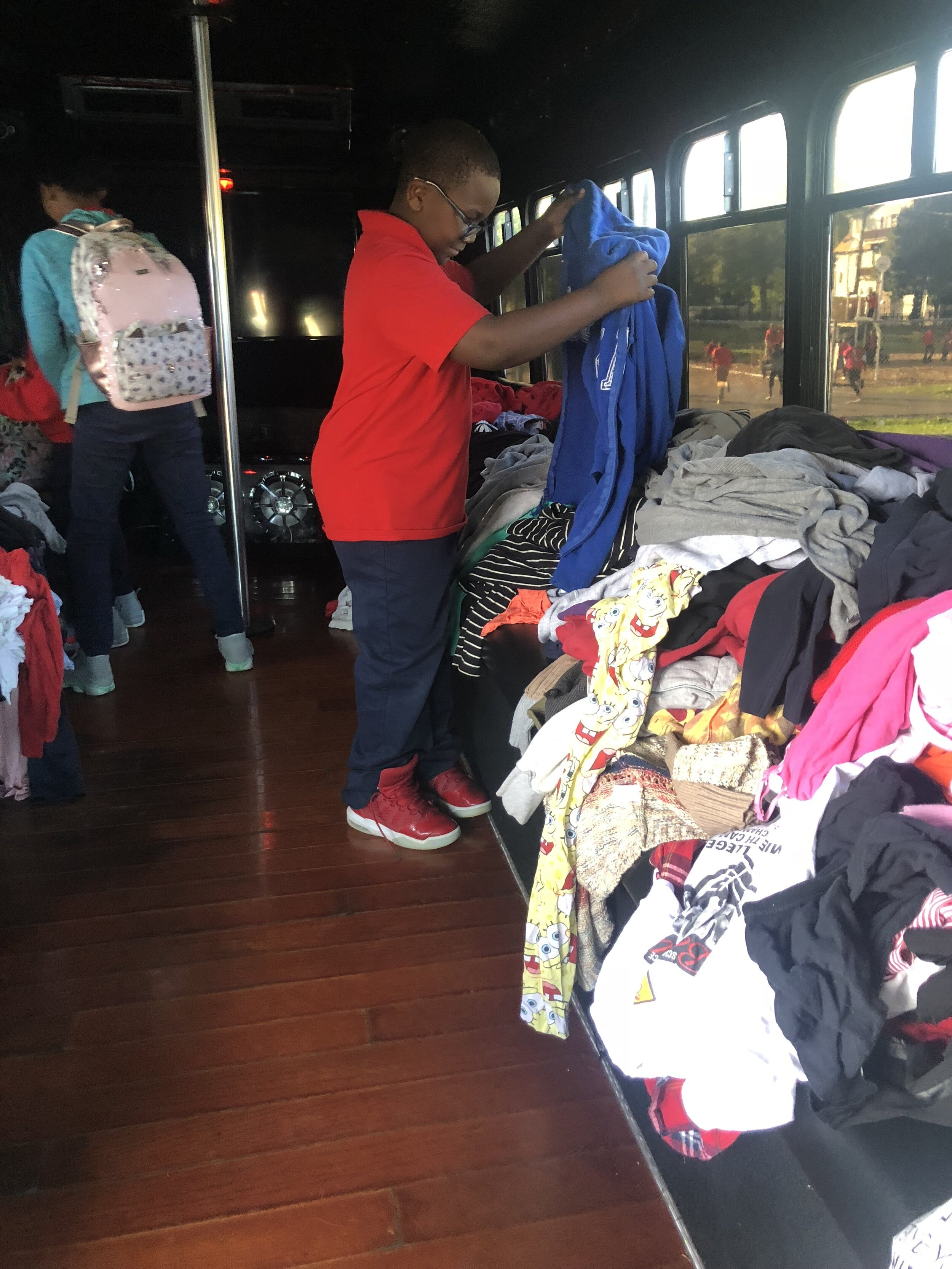 Krystal Griffin turned her bus into a free clothes donation for children. (Picture by Krystal Griffin)
