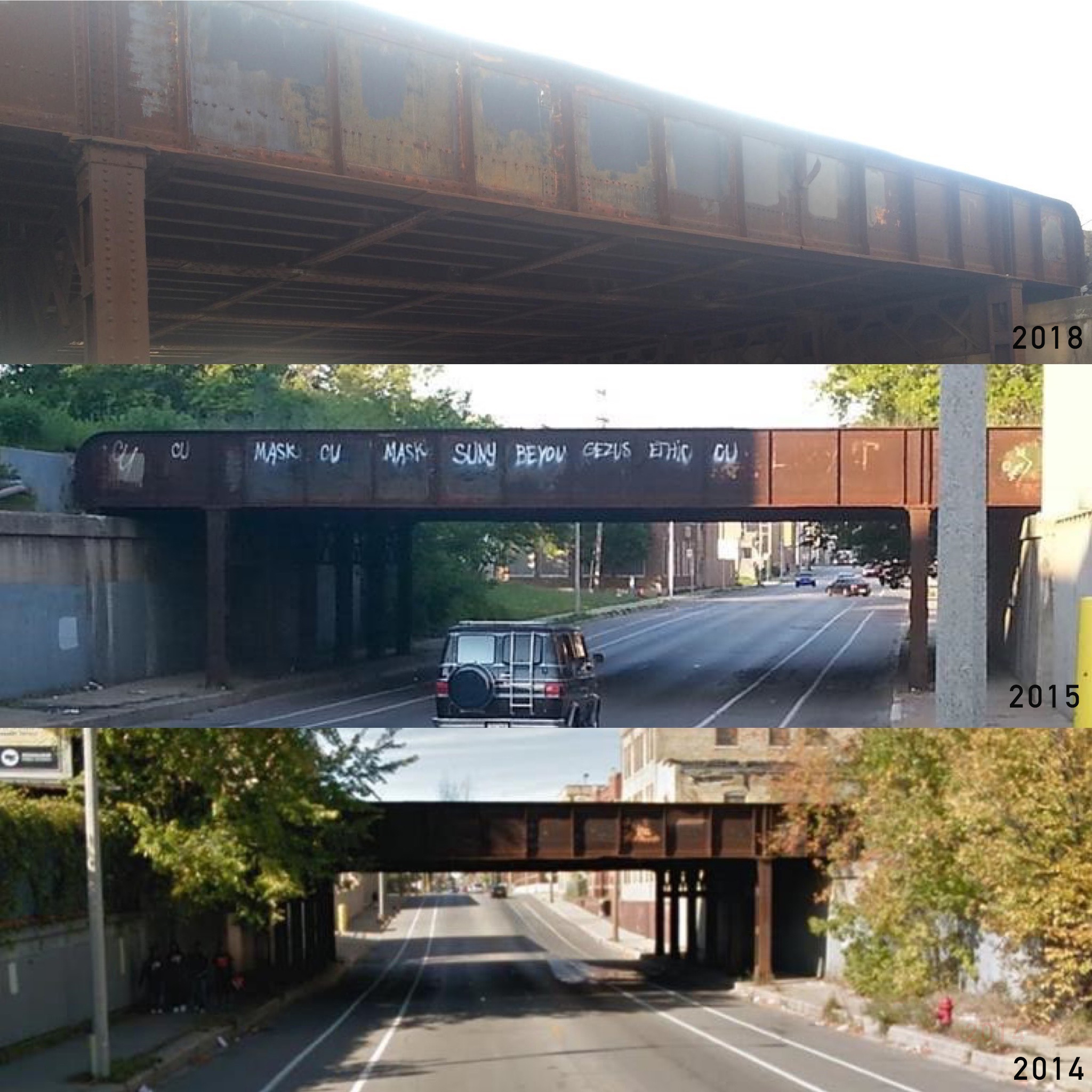 The 31st Center St. bridge over the years. (Picture by Darrian Davis)