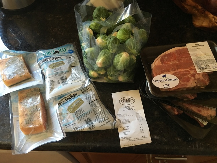 4 lamb steaks, 4 salmon filets, a large bag of brussel sprouts
