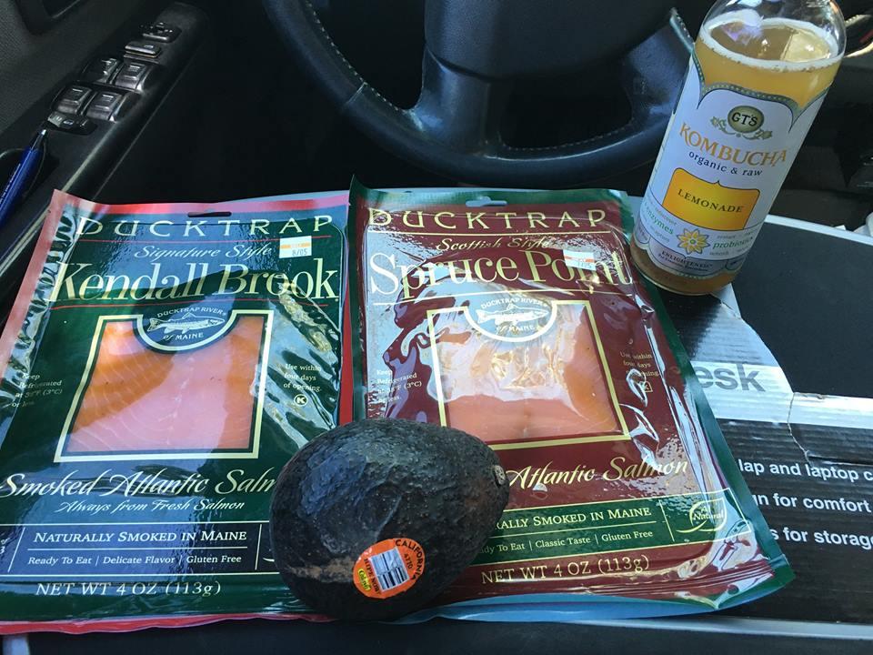 Smoked salmon, avocado and kombucha