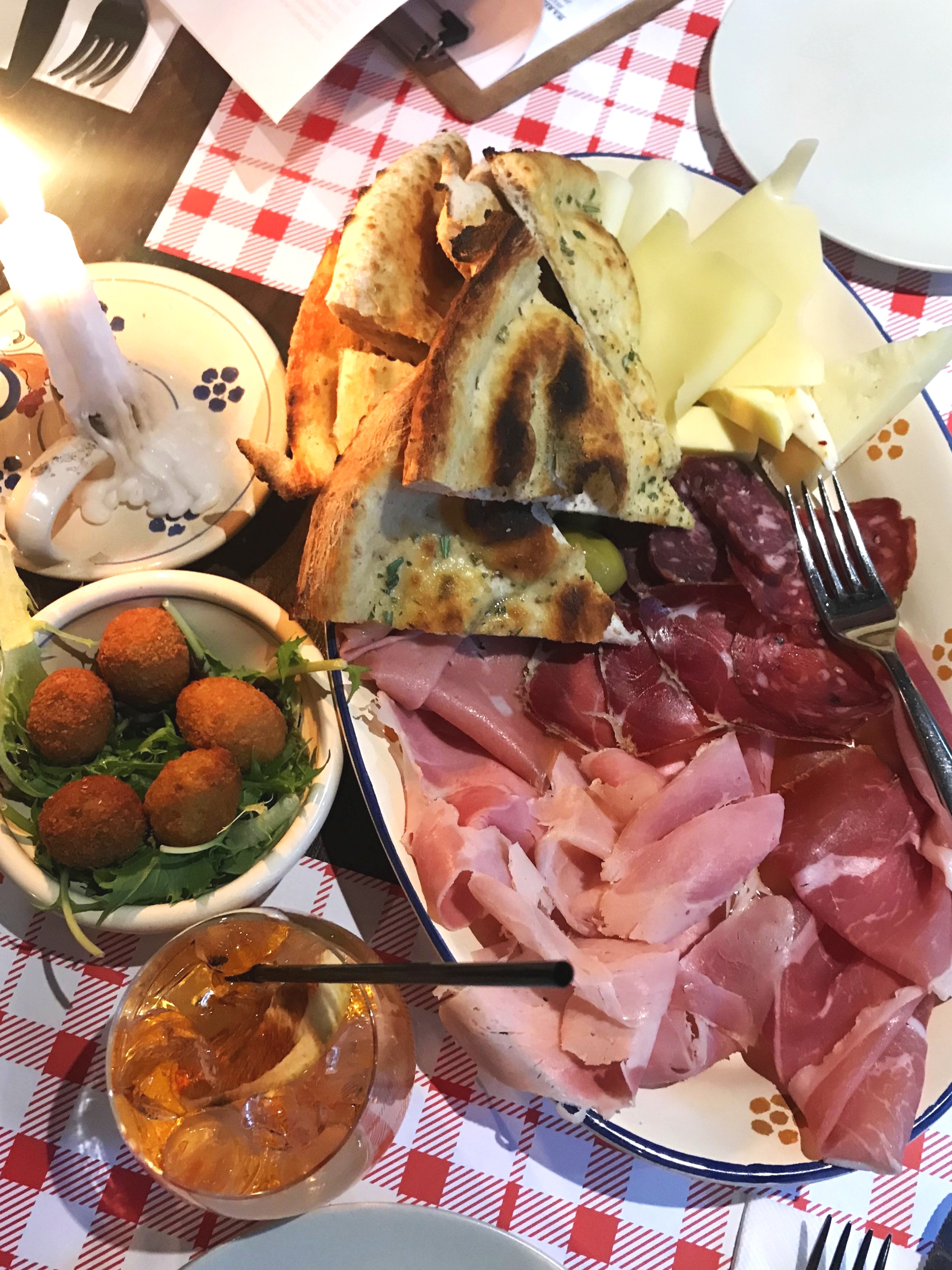 Cheese & meats board, fried olives (delicious!) and an Aperol Spritz at Pizzica.