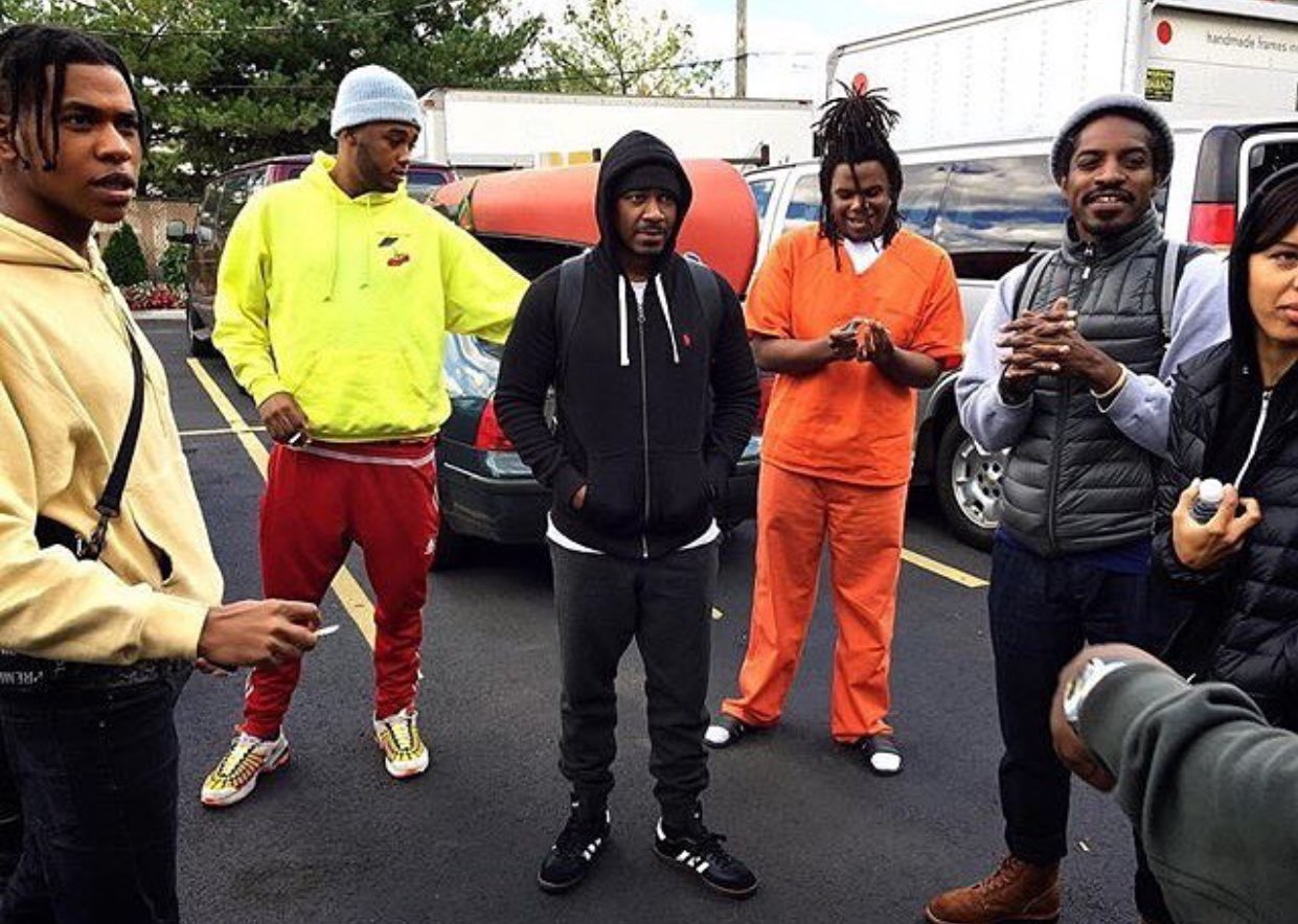 "IcyTwat in The UFO Hoodie with Divine Council and Andre 3000  On The Set of Divine Council's ""Decemba"" Video Directed By Andre 3000."