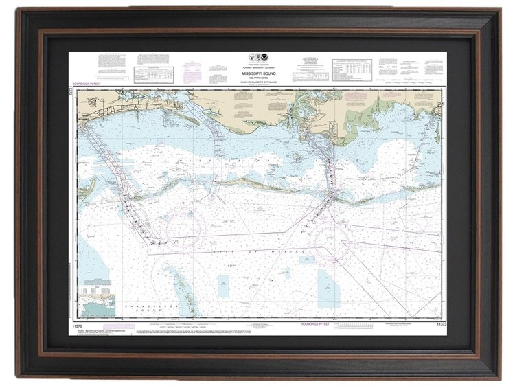 Framed Nautical Map 11373 - Mississippi Sound and Approaches Dauphin on