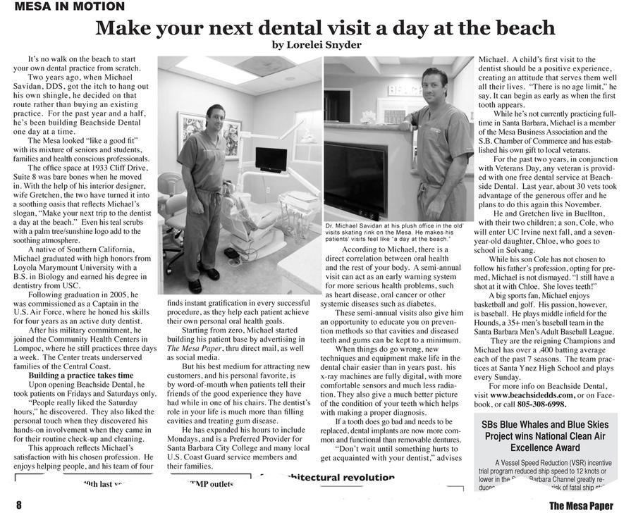 Beachside Dental Mesa in Motion Article