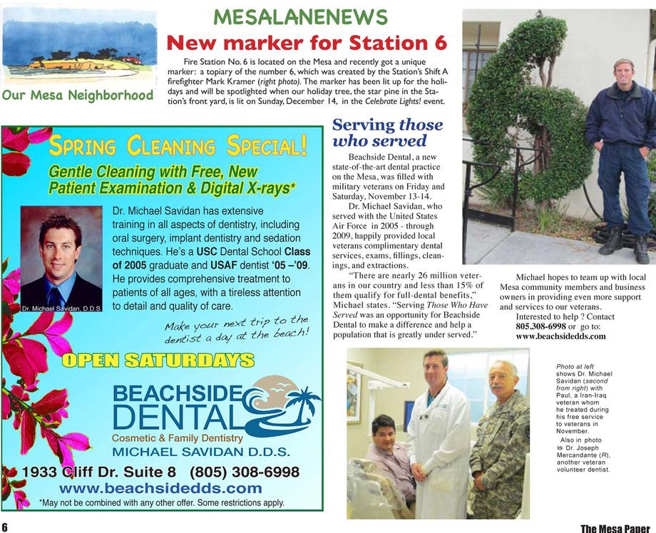 Beachside Dental Article in The Mesa Paper