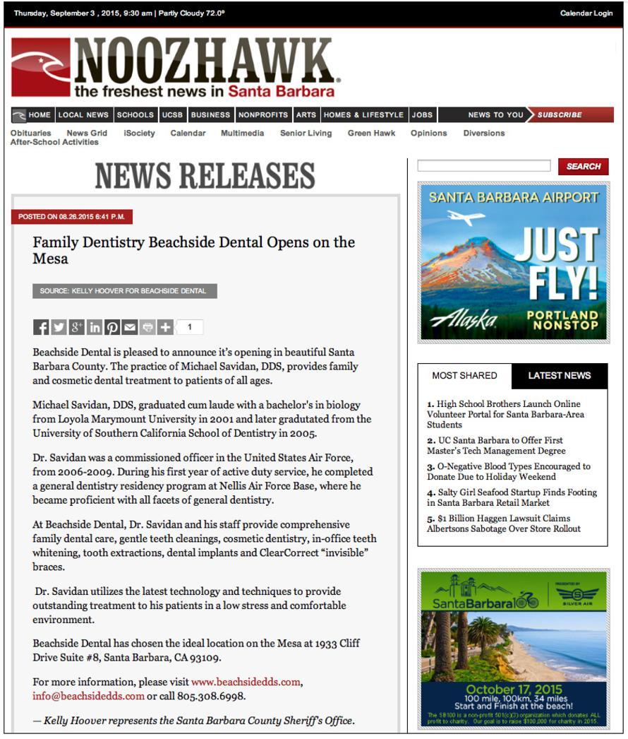 Beachside Dental Noozhawk Article