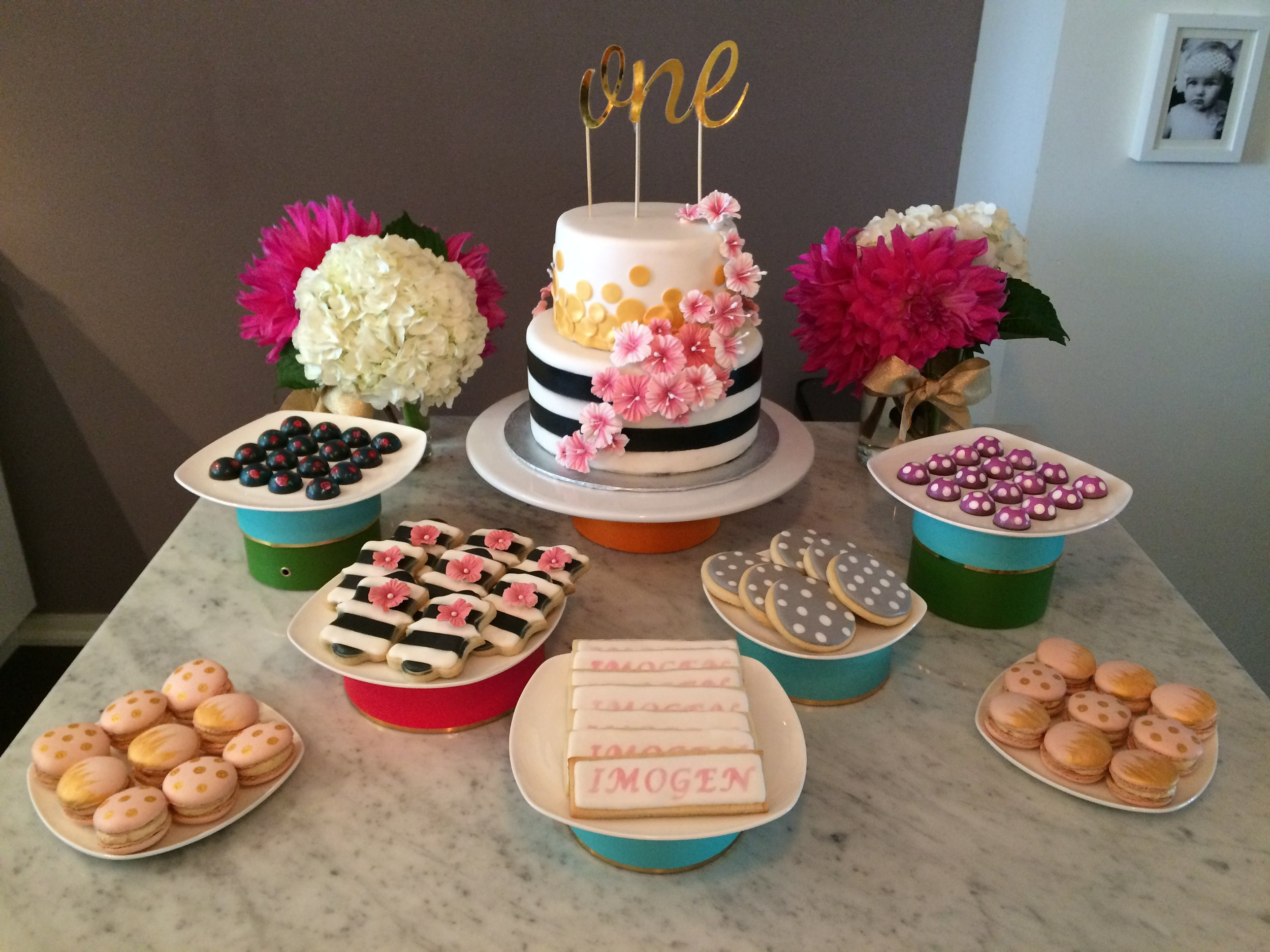 1st Birthday Kate Spade Inspired Sweets Table by Seed Confections