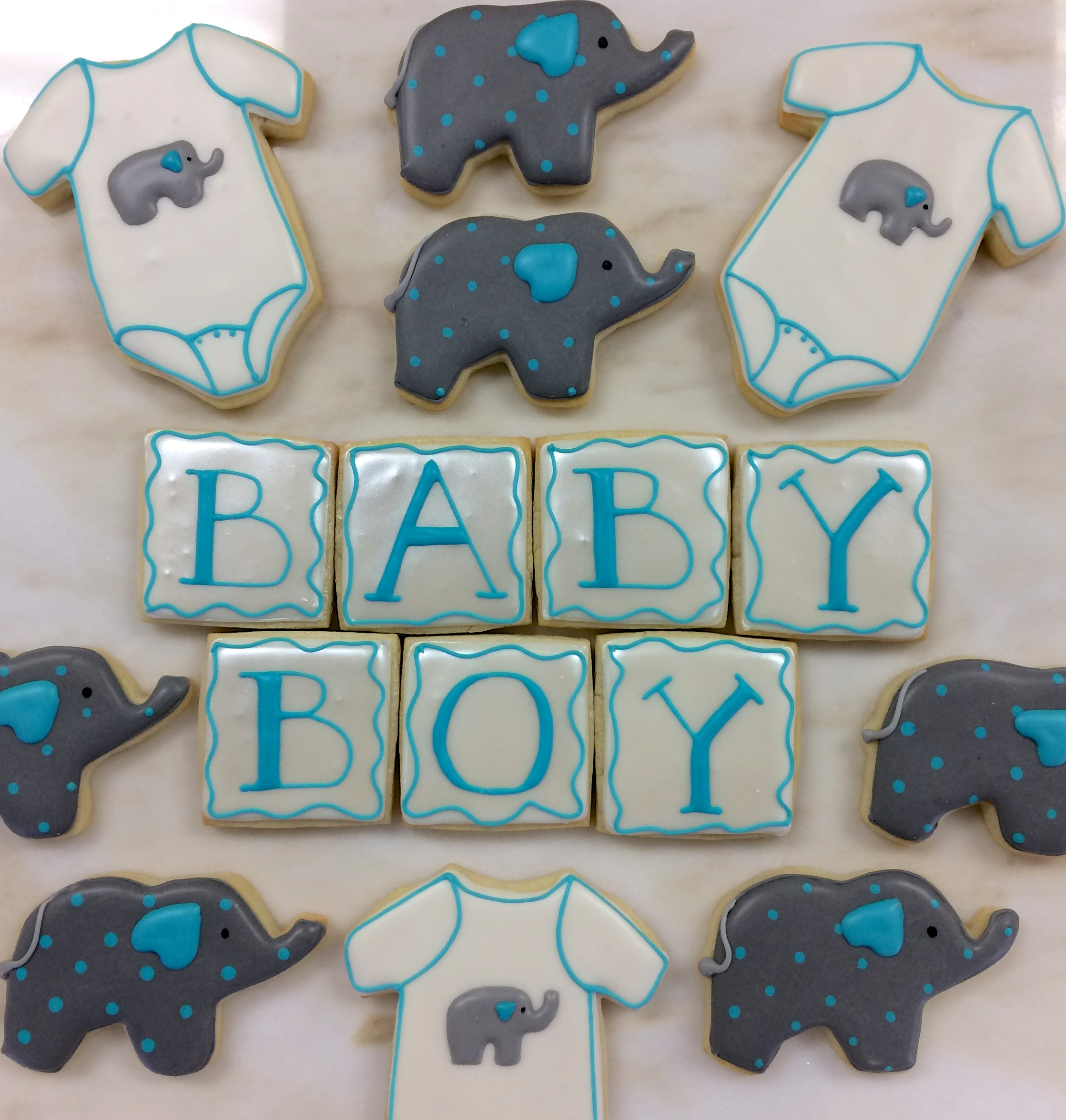 Boy Baby Shower Elephant cookies by Seed Confections