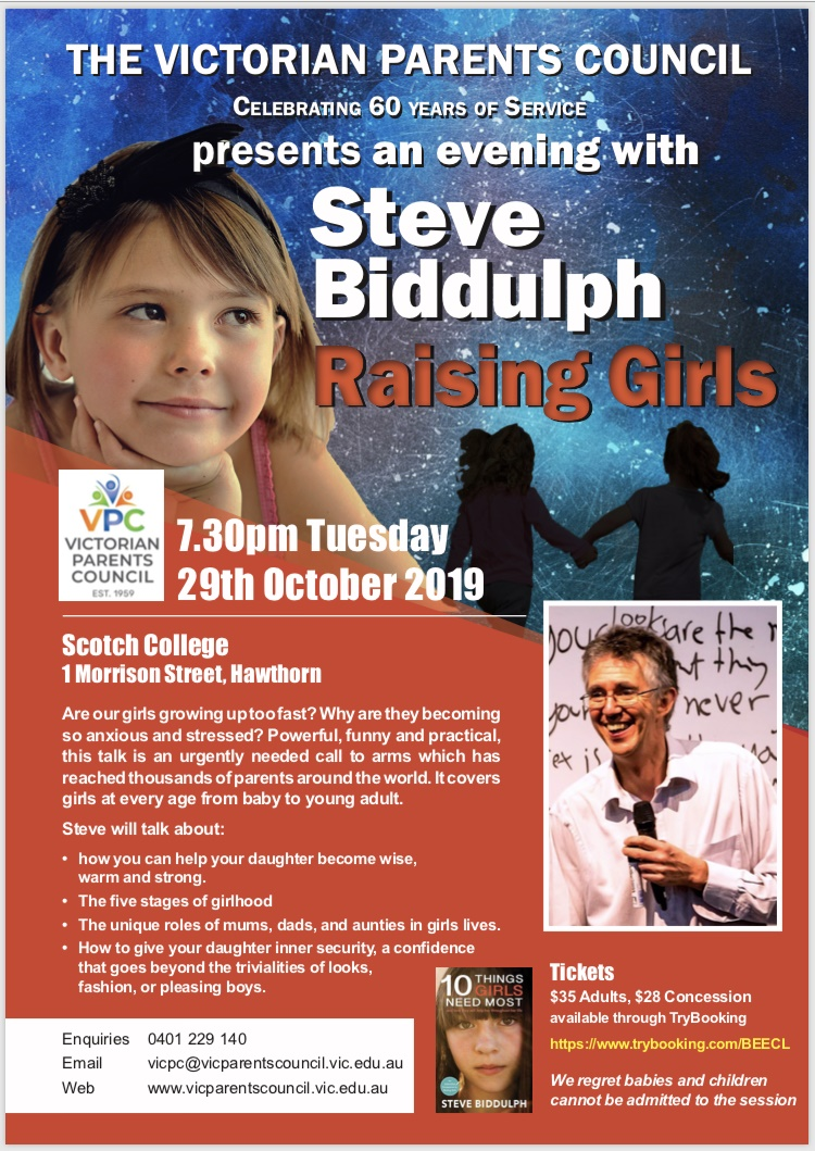 "Notice: VPC evening with Steve Biddulph ""Raising Boys"" is  SOLD-OUT"