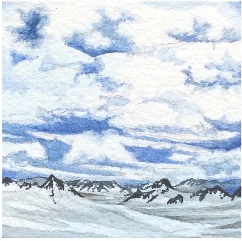 January 7, 2016  watercolour on Arches Aquarelle 140 lb paper  two inches x two inches  SOLD