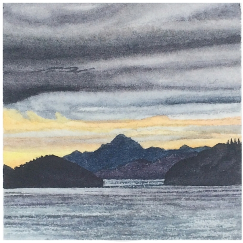 February 6, 2016  watercolour on Arches Aquarelle 140 lb paper  two inches x two inches  SOLD