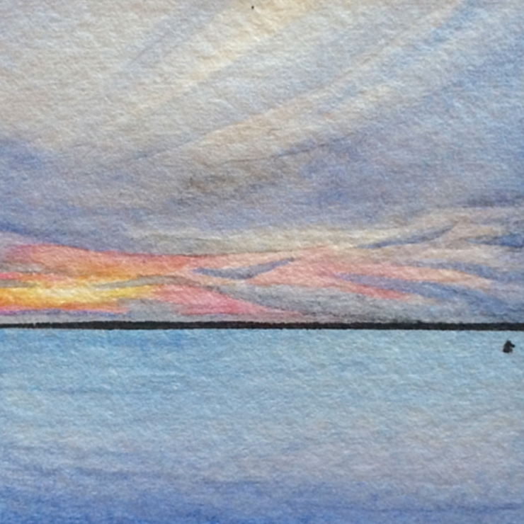January 2nd, 2016  watercolour on Arches Aquarelle 140 lb paper  two inches x two inches  SOLD