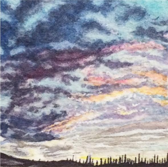 February 12, 2016  watercolour on Arches Aquarelle 140 lb paper  two inches x two inches  SOLD