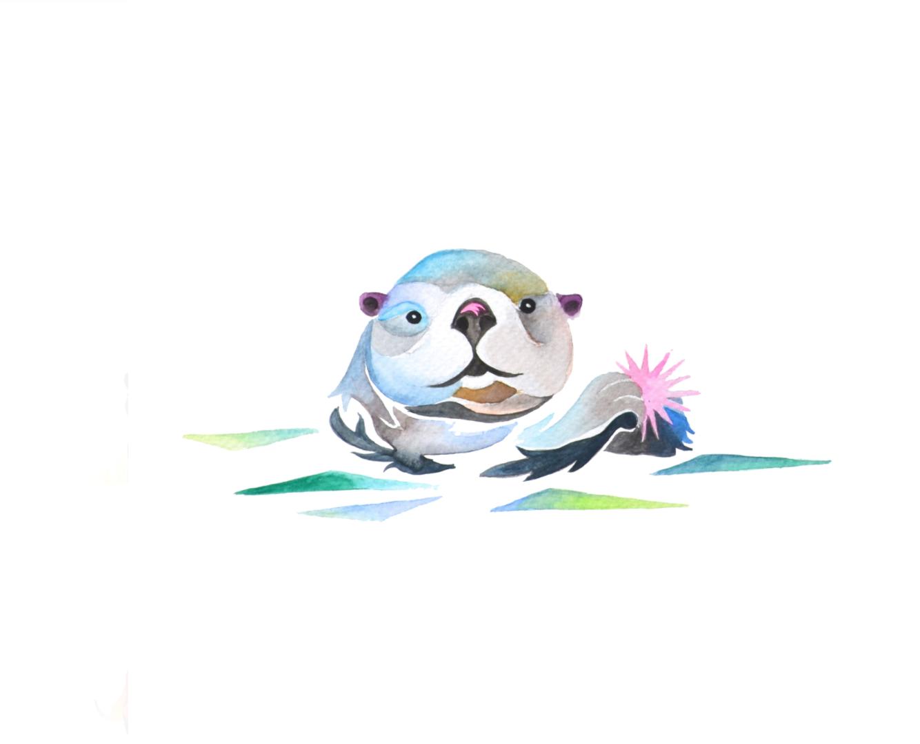 Sea Otter  watercolour on Fabriano CP paper  nine inches x nine inches  2014