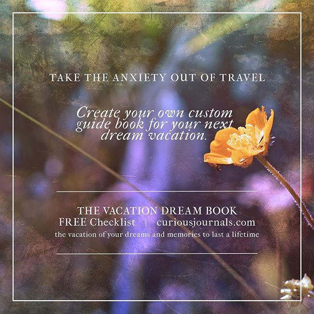 I used to be one of those uptight travelers.  The one who was always afraid I'd be late, or miss out on something.  I created the Vacation Dream Book as a unique solution to reducing travel anxiety.  More info and a free checklist to get started at my website.  #travel #travelblogger #travelblog #travelingram #memorykeeping #travelplanning #travelplanner #checklist #printable #creativeplanning #travelanxiety