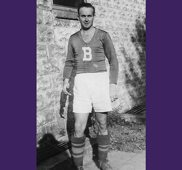 Former Brooks man Charles Waller, pictured outside the Kearny Scots-American Club during our 1945 treble-winning season. We need to recreate these kits sooner rather than later. (Photo courtesy of Charles's son Jim)