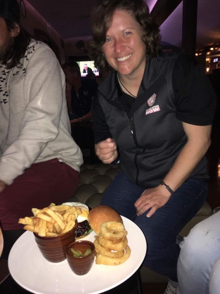 Well earned vegi burger and chips.