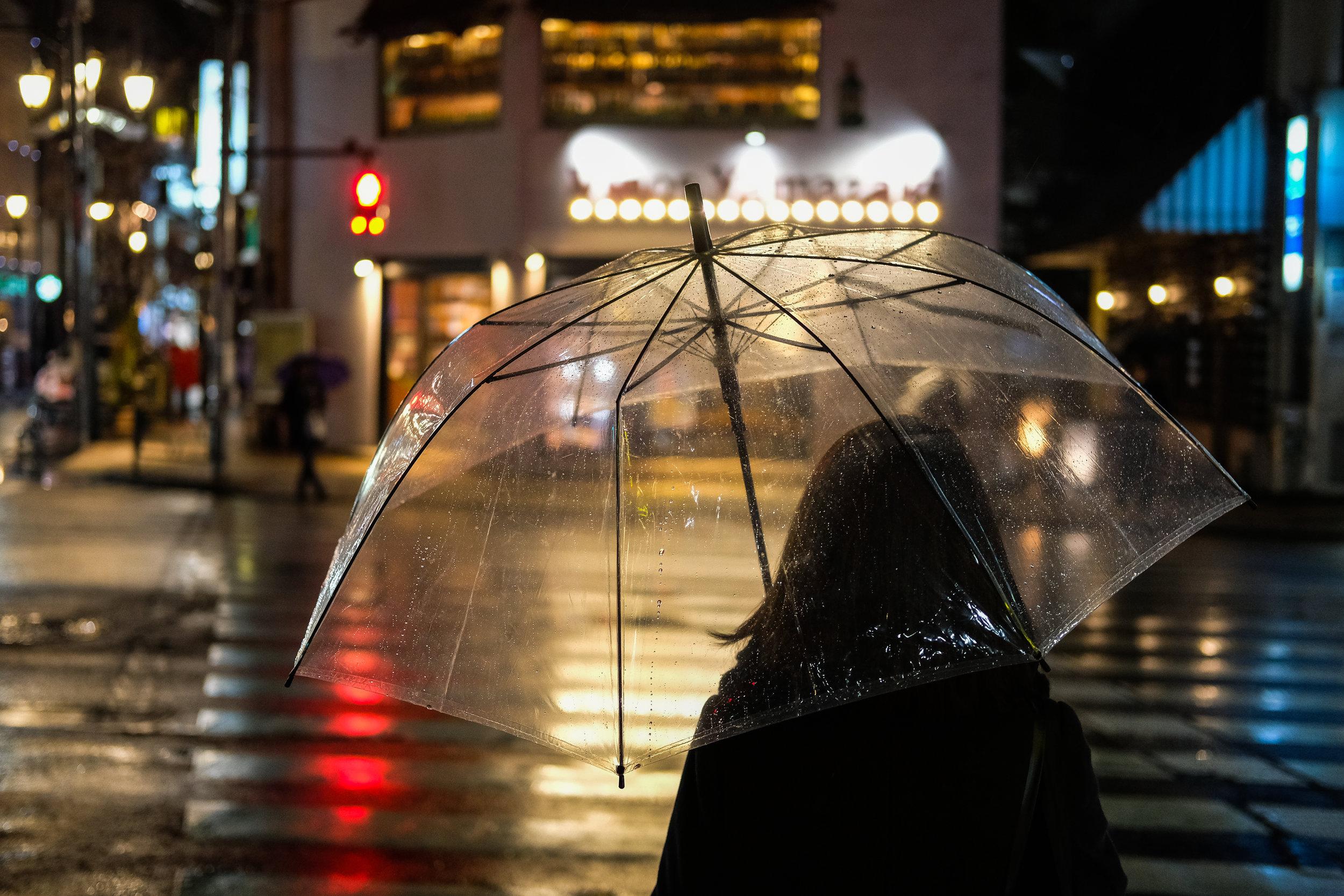 Transparent umbrellas. Hiro-O, Tokyo