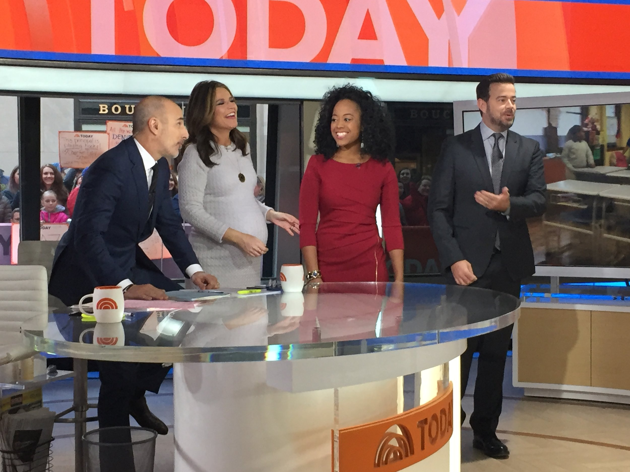 Jasmyn Wright engaging with the the cast of The Today Show