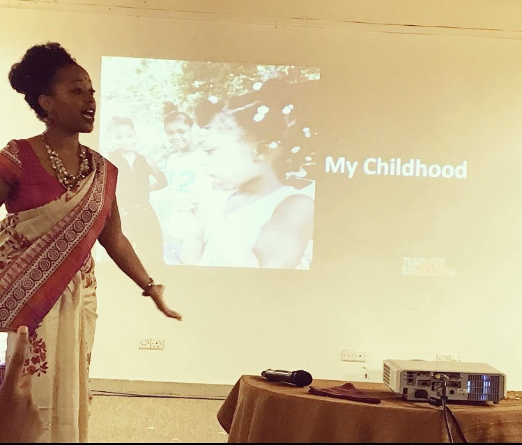 Jasmyn Wright leading an inspirational speech in Dhaka, Bangladesh