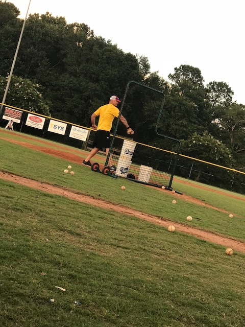 Batting Practice - This was last week when Matt got to throw BP to Carson's team...he knew it may be one of the last times on a mound for BP...Carson unloaded on his last pitch to him, and sent it over the fence:)