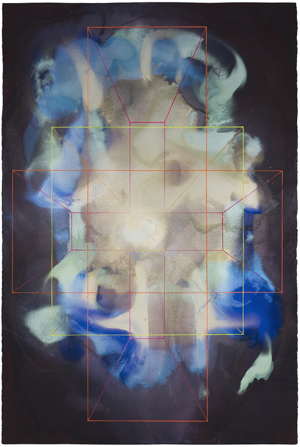 Interactive pigments, Inks, pigments, fluorescent pencil and paint, ventilation holes on 640g cold pressed paper. 151 x 101cm, 2016.