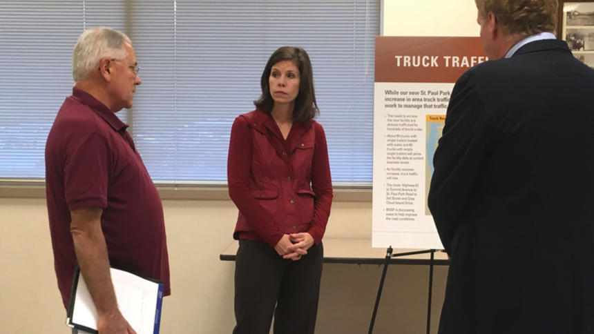 Amy McBeth (pictured) and other BNSF representatives spoke to residents at open houses this fall. (Bulletin file photo by Katie Nelson)
