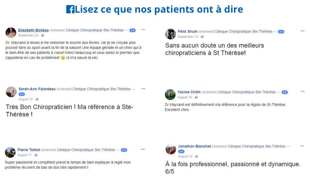 Testimonials Clinique Chiropratique Ste-Thérèse