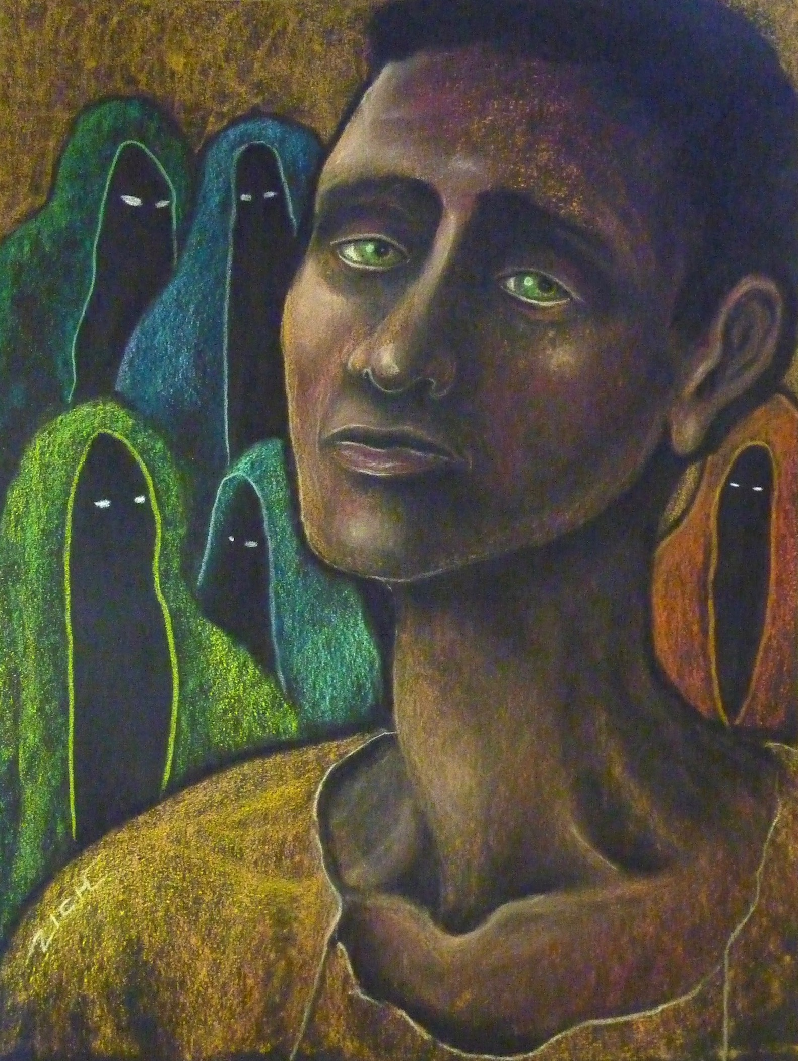 JANE ZICH  - Fairfax, CA   Witnessing Spirits in the Darkness   colored pencil on paper