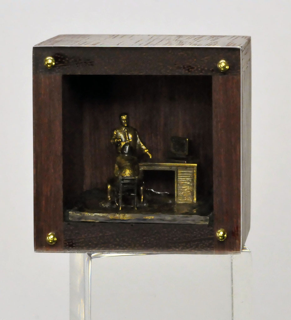 DAN SPAHN  - Moline, IL   Bill is Discovered   cast bronze, wood, Plexiglas