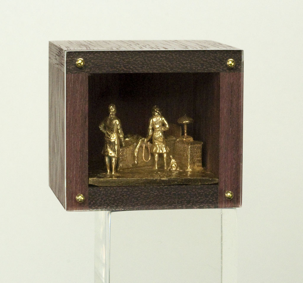DAN SPAHN  - Moline, IL   Home Enema   cast bronze, wood, Plexiglas
