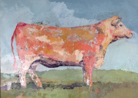 JANICE ROCKWELL  - Macomb, IL   Red Angus   oil on panel