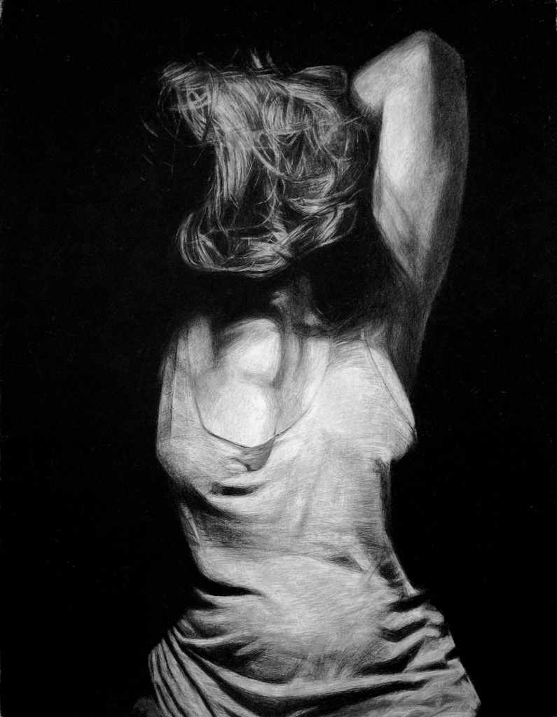 KELLY BLEVINS  - Brentwood, PA   Untitled   charcoal on paper