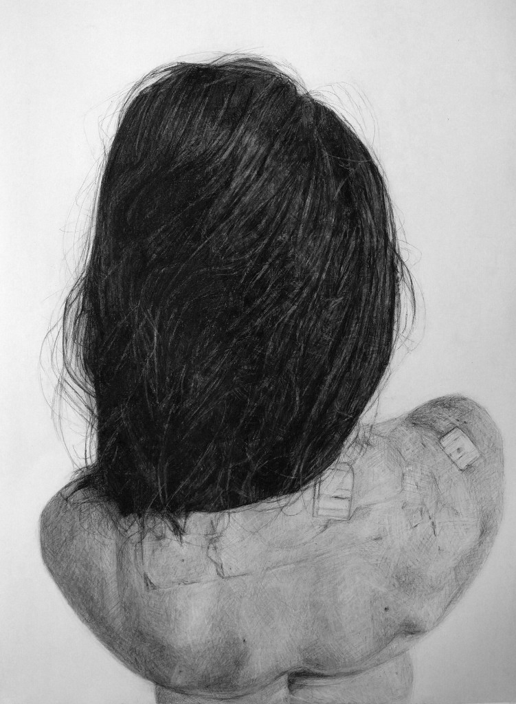 KELLY BLEVINS  - Brentwood, PA   My Incisions   charcoal on paper