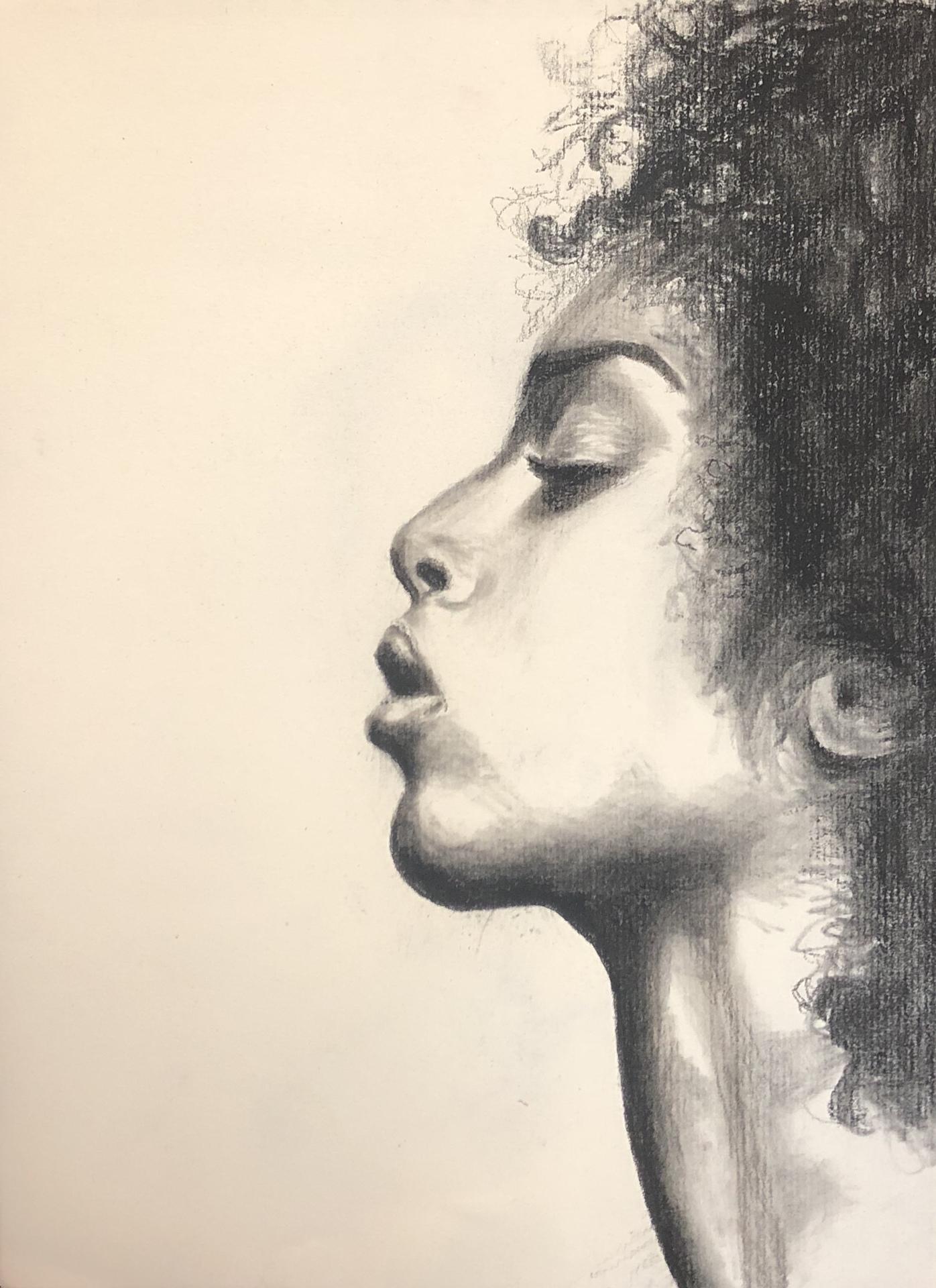 KATE BLAKE  - Nashville, TN   Profile of a Woman   charcoal, $163