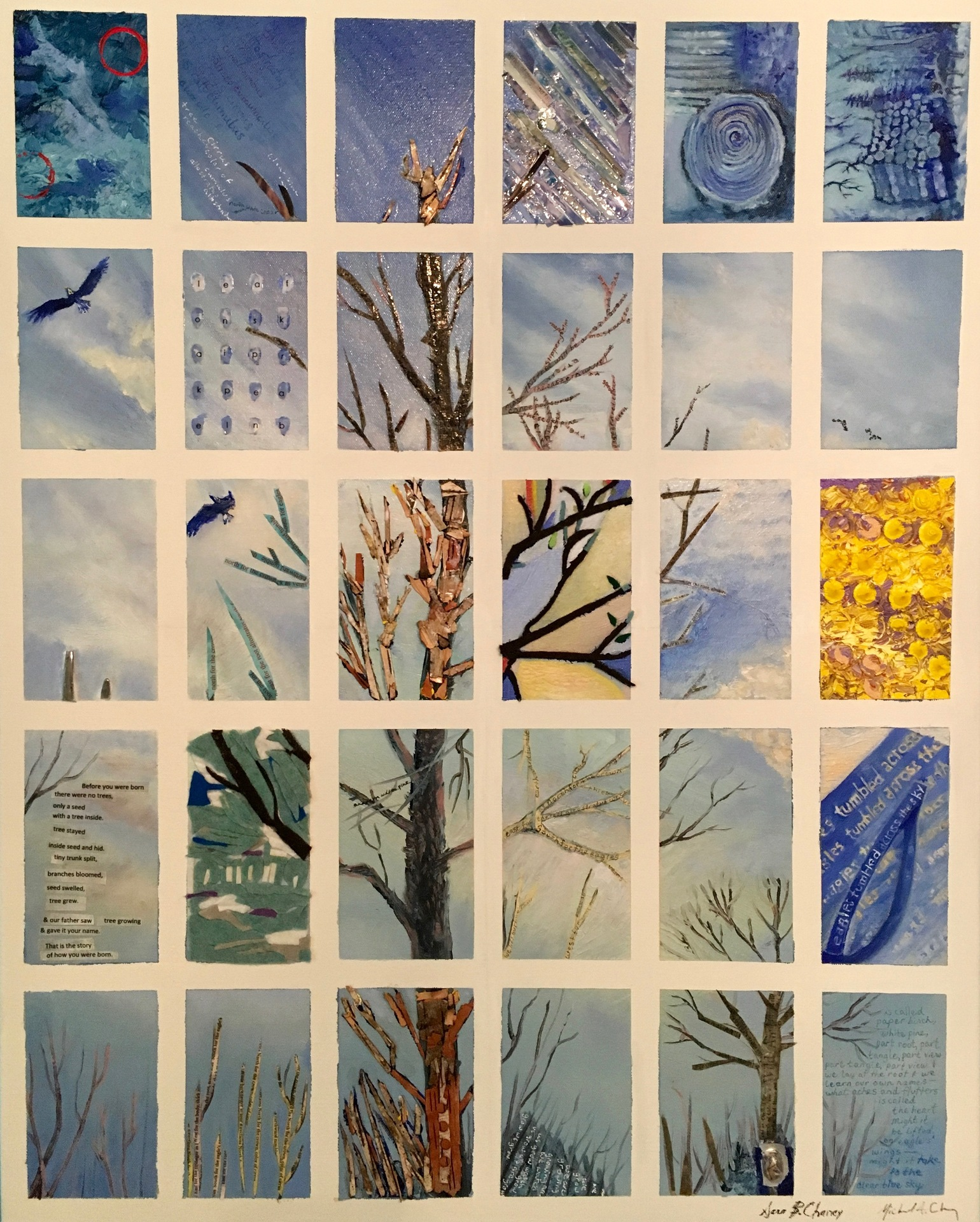 MICHAEL AND SARA CHANEY  - White River Junction, NY   Almanac #7 Tree   mixed media, $1,500