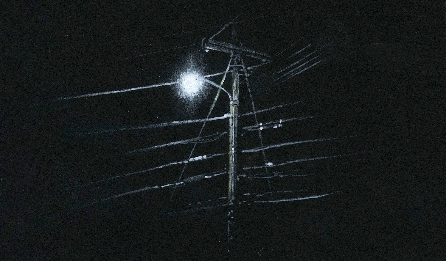 JACOB GUZAN  - Peoria, IL   Nightlight 3   colored pencil, white charcoal, acrylic, SOLD